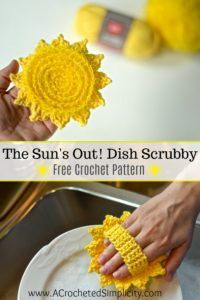 The Sun's Out! Dish Scrubby – Free Crochet Pattern – Patricia Payne The Sun's Out! Dish Scrubby – Free Crochet Pattern Free Crochet Pattern – The Sun's Out! Dish Scrubby by A Crocheted Simplicity Crochet Puff Flower, Crochet Flower Patterns, Crochet Flowers, Crochet Ideas, Crochet Bags, Crochet Animals, Crochet Designs, Crochet Craft Fair, Crochet Leaves
