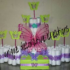 Baby shower diaper cake of butterfly 100 size 1 diaper. If any questions please call 7869165336