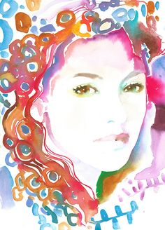 Giclee Print of Original Watercolour Painting, Fashion illustration Print, Fashion Sketch by Cate Parr. Klimt inspired Marion Cottillard