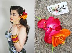 Fleurs pour les cheveux, Fleurs pour pinup, Fleurs tiki, Fleurs Rockabilly, Pince à cheveux, Coiffure pinup, Bibi, Oceanfront