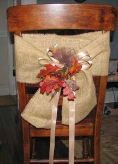 Only for the bands, no chair covers or chairs. They can be used with or without a chair cover. Fall Crafts, Holiday Crafts, Holiday Ideas, Thanksgiving Decorations, Christmas Decorations, Burlap Chair, Christmas Chair, Burlap Crafts, Wedding Chairs