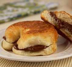 Nutella Warm Chocolate Croissant(Sandwich maker recipe-you can unplug device to lower temperature for croissants  if desired or remove at 2 min.)
