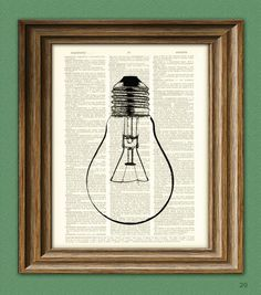 Cool Lightbulb altered art dictionary page by collageOrama on Etsy, $6.99