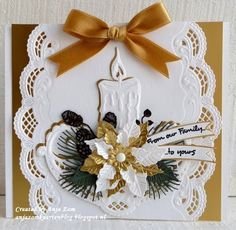 Handmade Christmas card by DT member Anja with Creatables Petra's Beautiful Border (LR0407), Petra's Poinsettia (LR0435), Petra's Flower Bowl (LR0436), Petra's Twigs Set (LR0437), Petra's Larix (LR0438) and Decoration Paper - Gold (CA3126) from Marianne Design