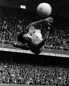 Goalkeeper Gordon Banks makes an spectacular diving save for his club side Stoke City against Derby County in the league May 1970 #goalkeepers