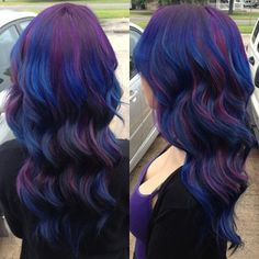 Purple and blue wavy hair