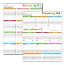 Make it sparkle!: Free Printable: Grocery and Menu Super Planner
