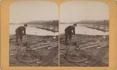 Raftsman's Series Unnumbered: Rigging a Rope   Photograph   Wisconsin Historical Society