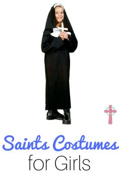 Don't stress about All Saints Day! Get inspired with these simple but inexpensive saint costumes for girls. Non-crafty moms, rejoice! Catholic Kids, Catholic Saints, Catholic Homeschooling, Catholic Crafts, Catholic Books, Catholic School, Roman Catholic, Saint Costume, Nun Costume