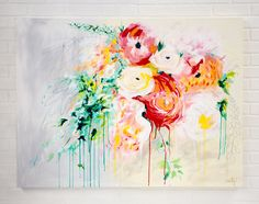 Bouquet Painting by Megan Carty, large abstract floral painting, great for over the couch, bespoke bridal bouquet painting
