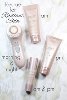 The Skincare Recipe for Radiant Skin: Clarisonic Sonic Radiance Brightening Solution Kit. Your morning and evening skincare routines made simple and effective.