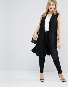 Image 4 of New Look Plus D-Ring Sleeveless Coat