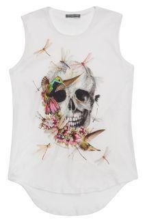 White Bird & Dragonfly Skull Vest alexander Mcqueen