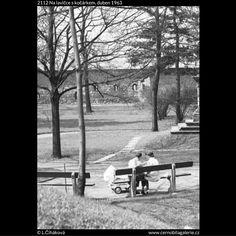 Na lavičce s kočárkem (2112) • Praha, duben 1963 • | černobílá fotografie, park na Vyšehradě, relax, lavičky, kočárek |•|black and white photograph, Prague|