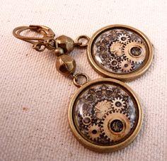 Steampunk Earrings Brass EarringsTile Earrings Tile Jewelry  Brass Jewelry Steampunk Jewelry Beaded Jewelry Beaded Earrings. $12.00, via Etsy.