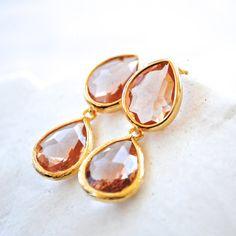Peach Jewel Post Earrings Pale Coral Dangle by laurenamosdesigns, $42.00