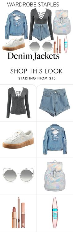 """""""Untitled #20"""" by denisegul ❤ liked on Polyvore featuring WithChic, Puma, High Heels Suicide, Marc Jacobs, Dolce Vita, Maybelline, denimjackets and WardrobeStaples"""