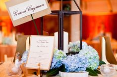 love lanterns with hydrangeas! Double duty if you use them as aisle markers and then centerpieces!