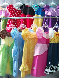 Peasant style princess dresses. A great idea to make easy dress-ups for the little girls!