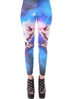 Galactic Gallop Unicorn Leggings by Cefian, BLUE, clothing,legwear,pink unicorn leggings,unicorn galaxy leggings,