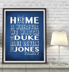 "Duke Blue Devils inspired Personalized Customized Art Print- ""Home Is"" Parody- Retro, Vintage- Unframed Print"