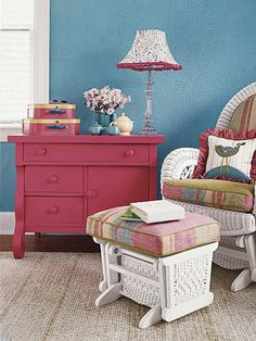 love the painted furniture