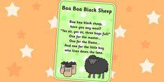 Baa Baa Black Sheep Nursery Rhyme Poster