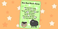 Baa Baa Black Sheep Nursery Rhyme Poster