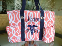 Utility Tote, Coral Vine with Navy Blue straps, Nurse's Tote, Diaper Bag, Teacher's Tote, Monogrammed by StitchedInStyle1 on Etsy