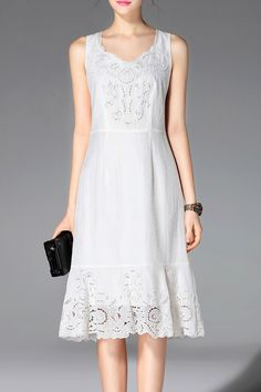 PROVERB -  Embroidery Sleeveless High Waisted Dress