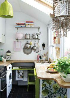 A Small Modern Bohemian kitchen