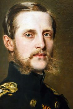 Detail of portrait of Grand Duke Konstantin Nikolaevich (1827 - 1892) at the age of 32. Second son of Tsar Nicholas I, one of the most liberal of the Romanovs, and great-great grandfather of the current Prince of Wales. (Franz Xavier Winterhalter 1859)
