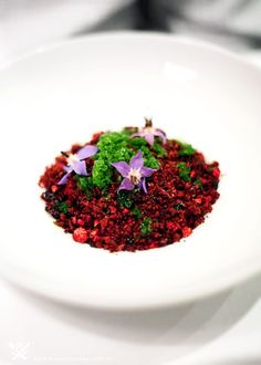 "{Attica - Ripponlea, Melbourne VIC (A Table For Two) {""Red Soil Terroir"" Beetroot Cake Crumbs mixed with Berries and Green Sorrel Ice}"