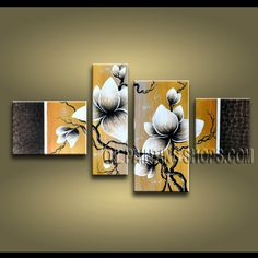 Large Contemporary Wall Art Hand Painted Oil Painting Stretched Ready To Hang Tulip Flowers. This 4 panels canvas wall art is hand painted by Anmi.Z, instock - $138. To see more, visit OilPaintingShops.com
