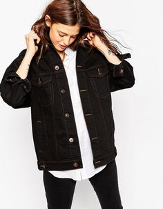 Image 3 of ASOS Denim Girlfriend Jacket in Black With Contrast Stitch