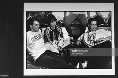 Figure skaters Brian Orser, Kristi Yamaguchi & Katarina Witt sitting on floor in front of others at Skate the Dream, a benefit in memory of figure skater/AIDS victim Rob McCall, which raised money for AIDS research at the Toronto Hospital.