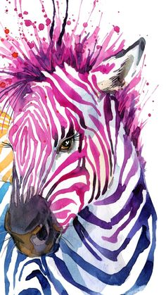 Zebra Art, Giraffe Art, Colorful Paintings, Animal Paintings, Animal Sketches, Animal Drawings, Zebra Clipart, Kids Art Class, Animal Wallpaper