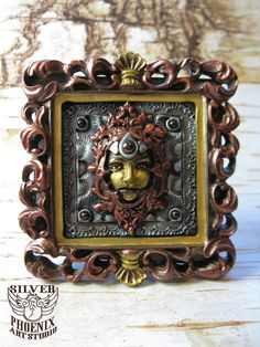 Small Framed Original Art – Steampunk Polymer Clay Serenely Smiling Goddess Face Design
