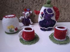 Crochet Tea Set miniature for childrens