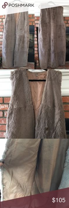 Vintage chinchilla fur floor length vest one size The most gorgeous soft fur vest I've ever seen. Not a tag in sight. Floor length. Fully lined in grey fabric. Buttons inside , who knows what they were for. Just gorgeous.   Measurements:  Length: 51 in  Shoulder: 17 in   Open design Vintage Jackets & Coats Vests