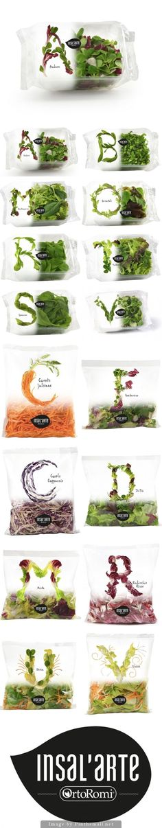 pinterest.com/fra411 #packaging #typographic - Insal'arte beautiful salad packages