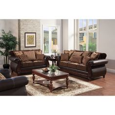 Furniture of America Traditional Franchesca 2-piece Fabric-Leatherette Sofa Set - Overstock™ Shopping - Great Deals on Furniture of America Sofas & Loveseats