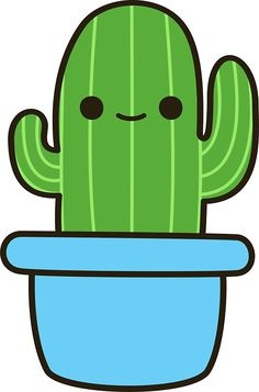 quot cute cactus in blue pot quot stickers by peppermintpopuk 365 Kawaii, Arte Do Kawaii, Kawaii Art, Cute Disney Drawings, Cute Easy Drawings, Cute Kawaii Drawings, Cactus Drawing, Plant Drawing, Doodles Kawaii