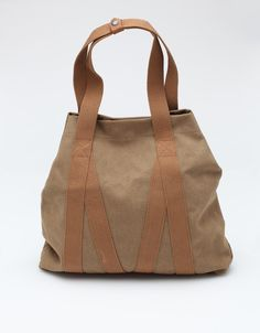"""Heavy canvas tote bag from Whillas and Gunn. this might look pretty in navy blue with black straps. 20"""" width  18"""" height  3.5"""" depth"""