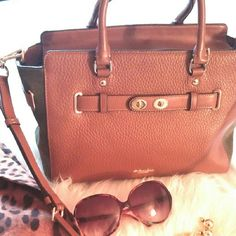 """💎NWT Authentic °Coach° Blake Cognac Handbag *This brand new Coach hangbag is well constructed, detailed, and amazing!  It has suede army green material on the sides, and a beautiful cognac leather material on the front and back.  It has gold hardware, and a shoulder strap.  It has a zippered pocket inside, and two additional slot pockets.  It is very spacious measuring approx 8 1/2"""" long ? 14 1/2"""" wide.  It's such a beautiful handbag!* Coach Bags Satchels"""