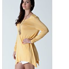 New mustard tunic 95% rayon, 5% spandex. Made in USA. Never worn, never washed. Tops Tunics