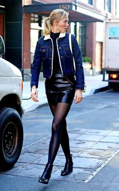 Karlie Kloss black leather skirt and ankle boots
