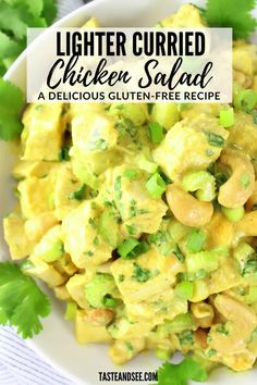 This Lighter Curried Chicken Salad with Cashews is a super-easy chicken curry recipe! With tender chicken, roasted cashews, honey mango, cilantro, celery, green onions, Greek yogurt, mayo, yellow curry & more. #TasteAndSee Celery Recipes, Best Chicken Recipes, Chicken Salad Recipes, Chicken Curry Salad, Easy Chicken Curry, Roasted Cashews, Salad Wraps, Mango, Pinterest Recipes