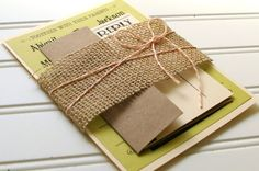 Rustic Wedding Invitations: Unique Handmade Rustic Burlap, Bakers Twine and Kraft Invites- Custom Colors