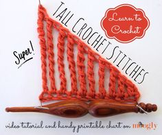 Learn Super Tall Crochet Stitches with a Moogly Video Tutorial! Handy printable chart included!